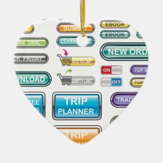 Vectores de la colección de los botones adorno navideño de cerámica en forma de corazón
