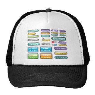 Vectores de la colección de los botones gorras de camionero
