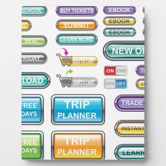 Vectores de la colección de los botones placas con fotos