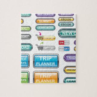 Vectores de la colección de los botones puzzles con fotos