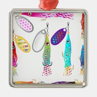 Vectores de los hilanderos del señuelo de la pesca adorno navideño cuadrado de metal