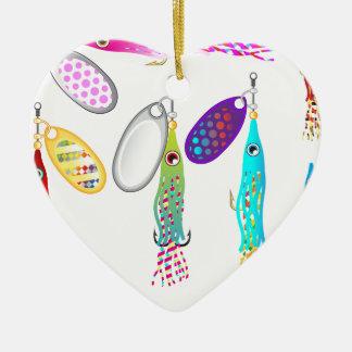 Vectores de los hilanderos del señuelo de la pesca adorno navideño de cerámica en forma de corazón