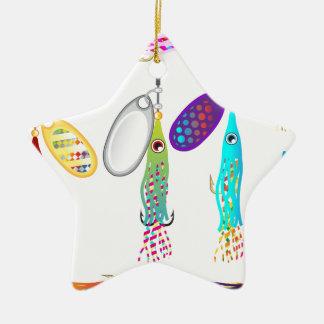 Vectores de los hilanderos del señuelo de la pesca adorno navideño de cerámica en forma de estrella