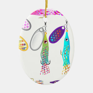 Vectores de los hilanderos del señuelo de la pesca adorno navideño ovalado de cerámica