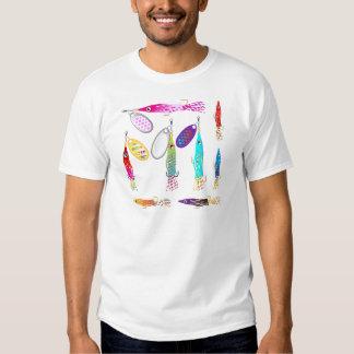 Vectores de los hilanderos del señuelo de la pesca camiseta
