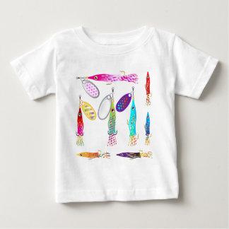 Vectores de los hilanderos del señuelo de la pesca camiseta de bebé