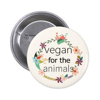 Vegano para el diseño floral de los animales chapa redonda de 5 cm