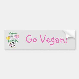 Vegano para los animales con el cerdo lindo, vaca, pegatina para coche