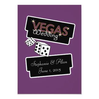 Vegas enciende la invitación púrpura del boda