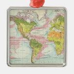 Vegetación del mundo y mapa de corrientes de océan ornamentos de navidad
