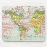 Vegetación del mundo y mapa de corrientes de océan alfombrilla de ratones