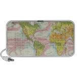 Vegetación del mundo y mapa de corrientes de océan laptop altavoz