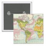 Vegetación del mundo y mapa de corrientes de océan chapa cuadrada 5 cm