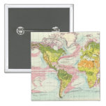 Vegetación del mundo y mapa de corrientes de océan chapa cuadrada