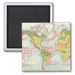 Vegetación del mundo y mapa de corrientes de océan imán cuadrado