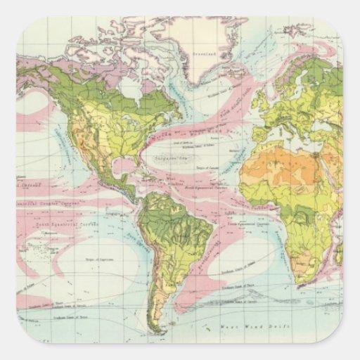 Vegetación del mundo y mapa de corrientes de océan calcomanías cuadradass