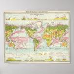 Vegetación del mundo y mapa de corrientes de océan póster