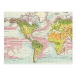 Vegetación del mundo y mapa de corrientes de océan tarjetas postales