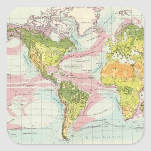 Vegetación del mundo y mapa de corrientes de pegatina cuadrada