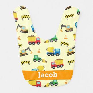 Vehículos coloridos modelo, bebés de la construcci babero para bebé