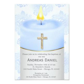 Vela azul del bautismo invitación 12,7 x 17,8 cm