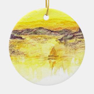 Vela de oro - lápiz de la acuarela adorno redondo de cerámica