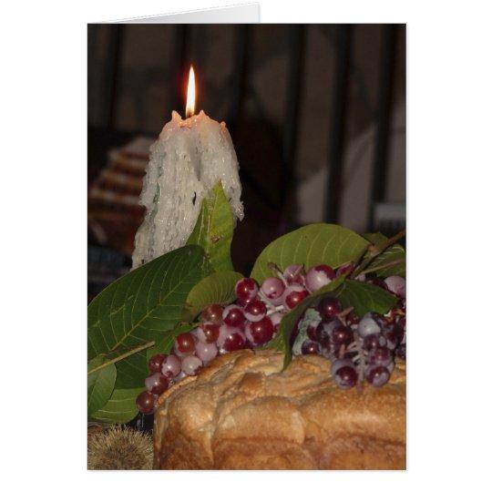 Vela y uvas, interior en blanco, romántico tarjeta de felicitación