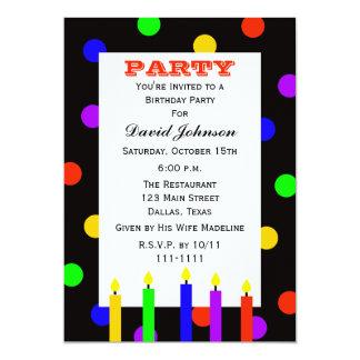 Velas coloridas adultas de la fiesta de cumpleaños invitación 12,7 x 17,8 cm