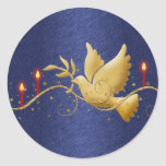 Velas de la paz de la paloma del navidad del oro pegatinas redondas
