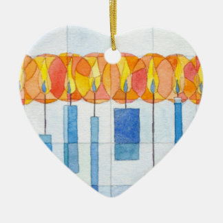 Velas de ornamento adorno navideño de cerámica en forma de corazón
