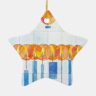 Velas de ornamento adorno navideño de cerámica en forma de estrella