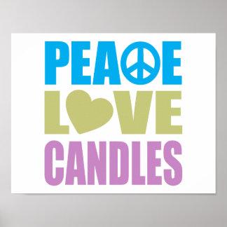 Velas del amor de la paz impresiones