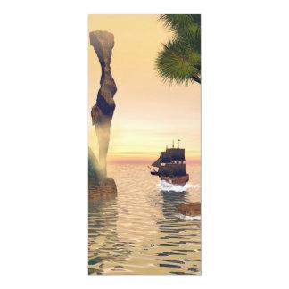 Velas del barco pirata a través de una entrada invitación 10,1 x 23,5 cm