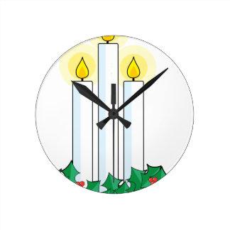 velas del navidad reloj redondo mediano