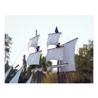velas del pirata en muskateer de pirateo abstracto folleto 21,6 x 28 cm
