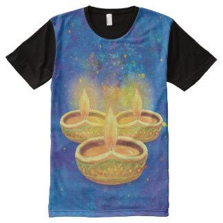 Velas illuminating pintadas a mano de los niños de camiseta con estampado integral