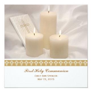 Velas y comunión santa del libro de oración invitacion personalizada