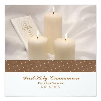 Velas y comunión santa del libro de oración invitaciones personales