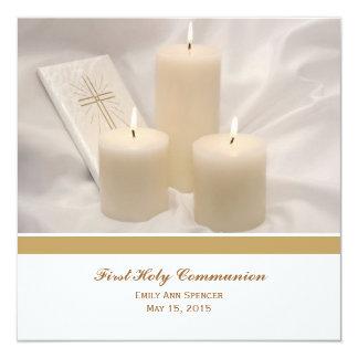 Velas y comunión santa del libro de oración invitación 13,3 cm x 13,3cm