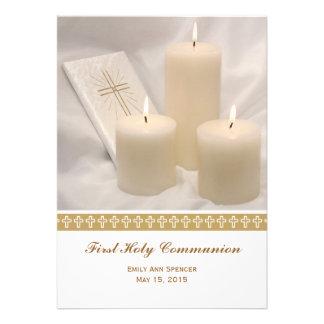 Velas y comunión santa del libro de oración primer anuncio personalizado