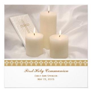 Velas y comunión santa del libro de oración primer invitacion personalizada