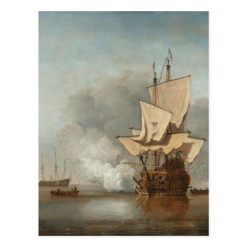 Velde del paisaje marino de la bella arte postales
