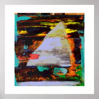 Velero abstracto en la puesta del sol póster