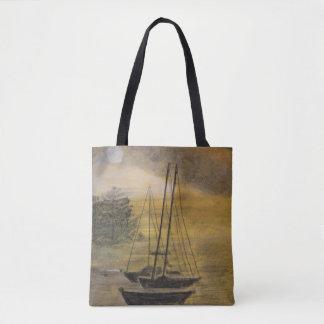 Velero amarrado en la bahía - bahía bolso de tela