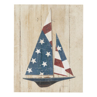 Velero con la bandera americana cuadro