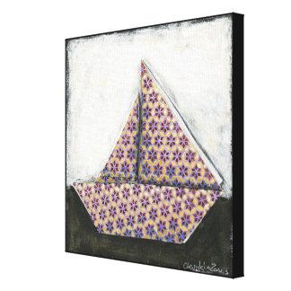 Velero de Origami en el papel del diseño de la Impresión En Lienzo