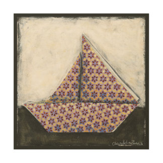 Velero de Origami en el papel del diseño de la Impresión En Madera