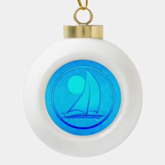 Velero del azul de océano adorno de cerámica en forma de bola