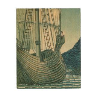 Velero del santo grial en el océano impresión en madera