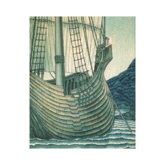 Velero del santo grial en el océano lienzo